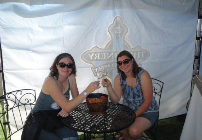 two women enjoying their wine tour at the Holy Cross Abbey Colorado Jeep Tours