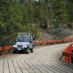 jeep driving on a bridge Colorado Jeep Tours