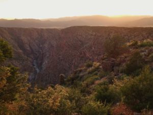 Sunset over the Royal Gorge at dusk
