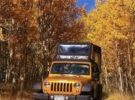 jeep driving through yellow aspen trees