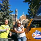 two guests with Colorado Jeep Tours enjoying wine tour outside Winery at Holy Cross Abbey