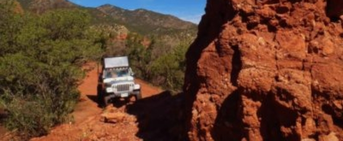 Jeep off-roading next to Pioneer Rock