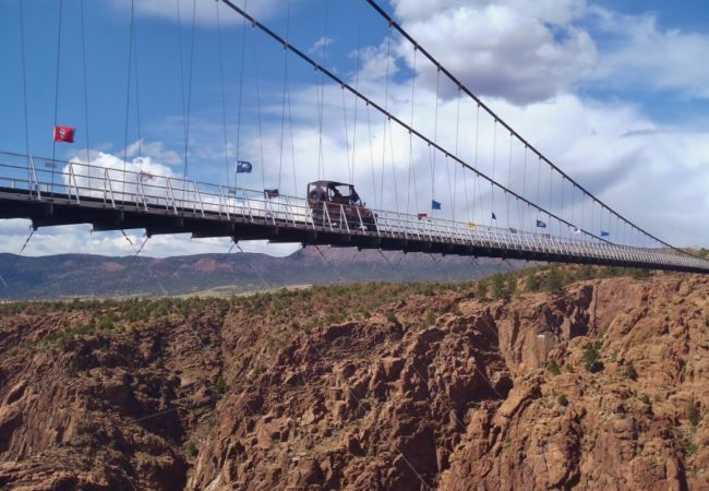 Colorado Jeep Tours driving over Royal Gorge Bridge