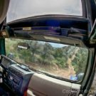close up view of inside jeep while driving on rough terrain
