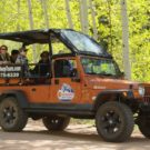 guests with Colorado Jeep Tours enjoying the aspen trees on the trail