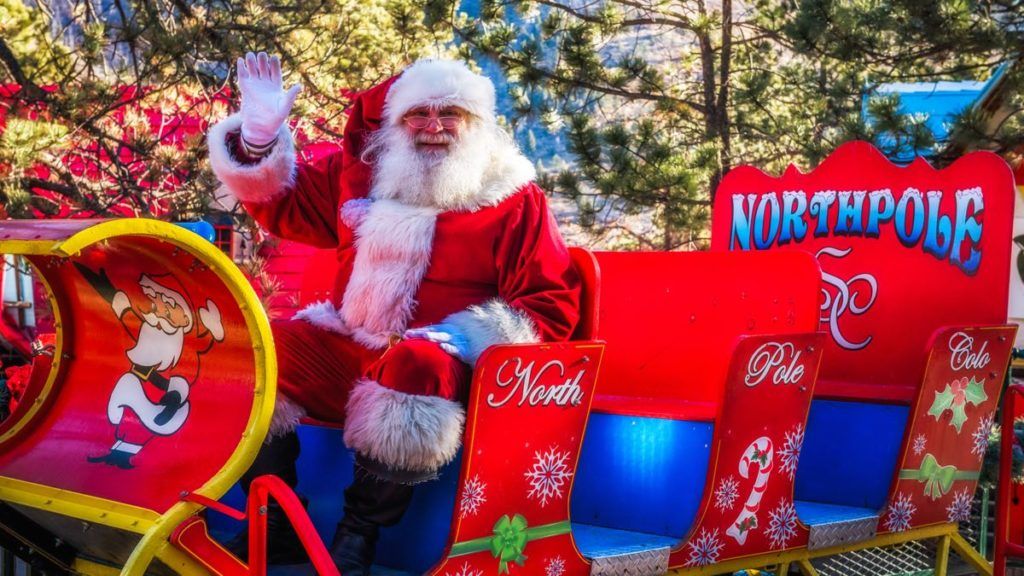 Santa in his sleigh at North Pole Colorado - Santa's Workshop