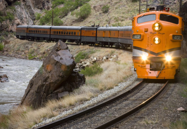 Royal Gorge train coming on the tracks Colorado Jeep Tours