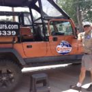 jeep and guide about to assist passengers into vehicle Colorado Jeep Tours