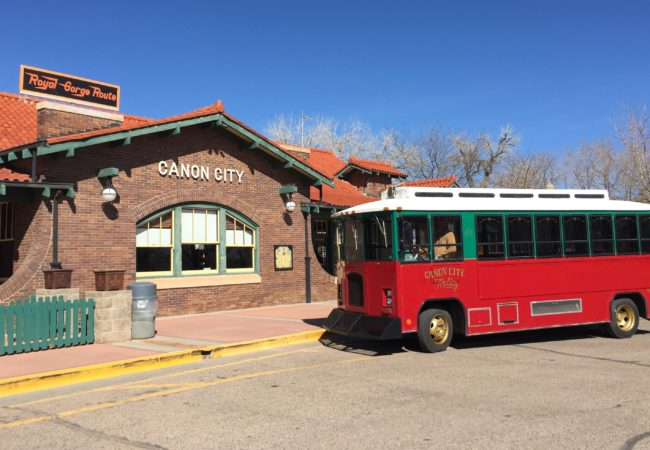 Trolley at the Cañon City train depot