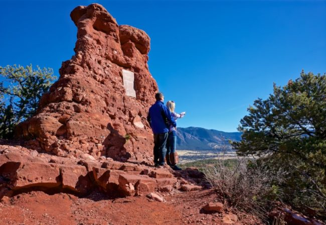 Two tourists experiencing Red Canyon Colorado Jeep Tours