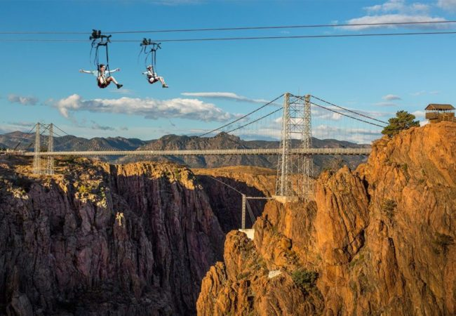 People Zip Lining at Royal Gorge